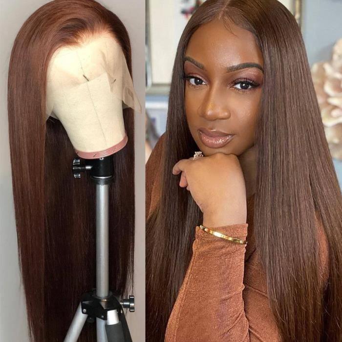 20pouce Perruque Lace Front Wig lisse brésilienne Remy cheveux naturels brun ombré T-part