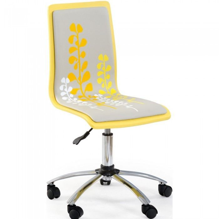 chaise de bureau jaune et blanche flower couleu achat vente chaise de bureau jaune cdiscount. Black Bedroom Furniture Sets. Home Design Ideas