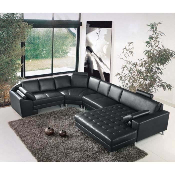 grand canap d 39 angle panoramique en cuir noir king achat vente canap sofa divan. Black Bedroom Furniture Sets. Home Design Ideas
