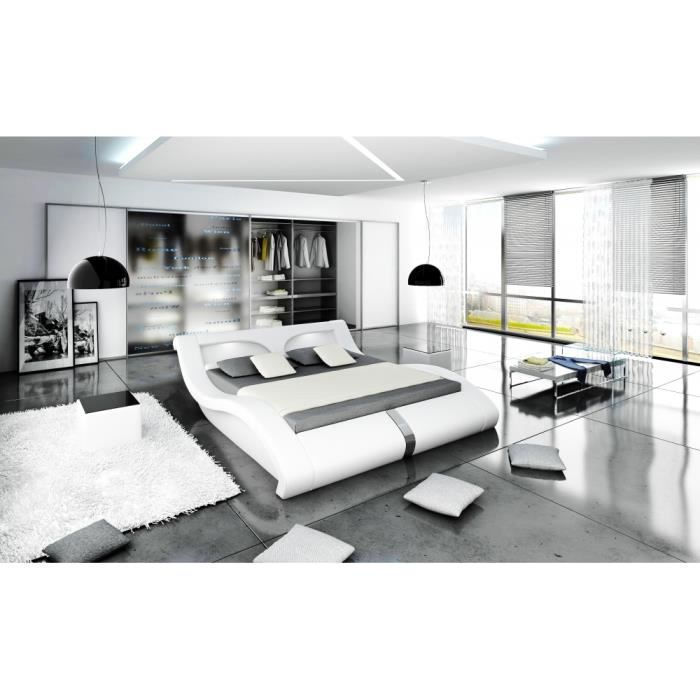 lit avec clairage led vague 1 80 m blanc achat vente. Black Bedroom Furniture Sets. Home Design Ideas