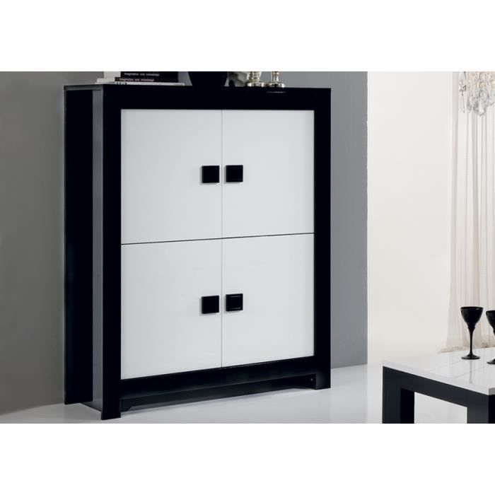 vaisselier laqu pisi noir et blanc achat vente vaisselier living vaisselier laqu pisi. Black Bedroom Furniture Sets. Home Design Ideas
