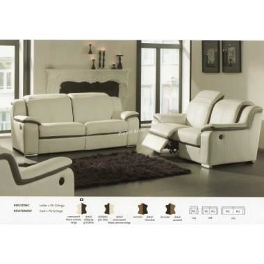 salon cuir relax modele royal 3 2 1 blanc gris achat. Black Bedroom Furniture Sets. Home Design Ideas