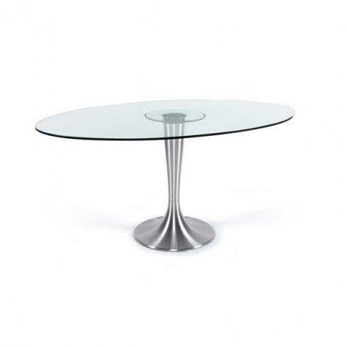 Table manger en verre ellipse chrome achat vente - Table a manger verre ...