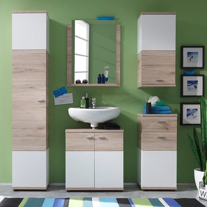 ensemble meubles de salle de bain 5 l ments blanc ch ne. Black Bedroom Furniture Sets. Home Design Ideas