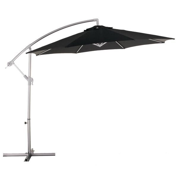 parasol excentr luxe alu polyester noir d3m achat vente parasol parasol excentr noir. Black Bedroom Furniture Sets. Home Design Ideas