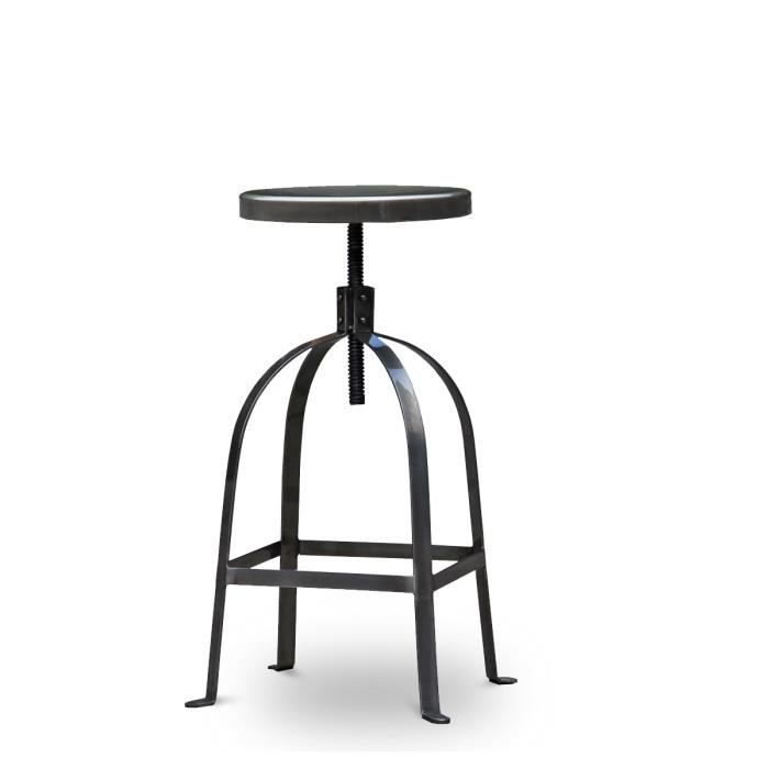 tabouret de bar vis henri ford couleur metal achat vente tabouret de bar acier cdiscount. Black Bedroom Furniture Sets. Home Design Ideas