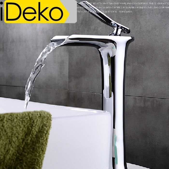 ideko robinet mitigeur lavabo cascade haut bec salle de bain design moderne laiton c ramique. Black Bedroom Furniture Sets. Home Design Ideas
