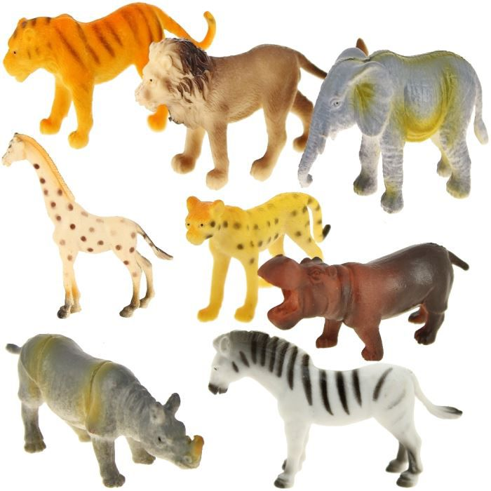 lot set 8 figurines animaux savane jungle jouet en achat. Black Bedroom Furniture Sets. Home Design Ideas
