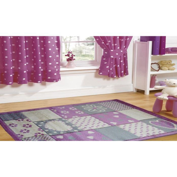 tapis enfant violette chambre joy l104 cm 80x achat vente tapis cdiscount. Black Bedroom Furniture Sets. Home Design Ideas