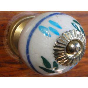 POIGNÉE - BOUTON MEUBLE Boutons en porcelaine trait bleu