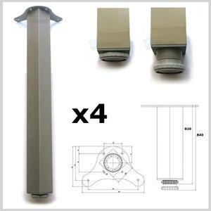 PIED DE TABLE Lot de 4 pied de table 820mm aluminium meuble cuis