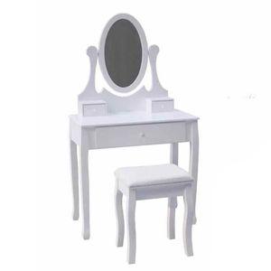 COIFFEUSE Console meuble coiffeuse en bois blanc miroir tabo