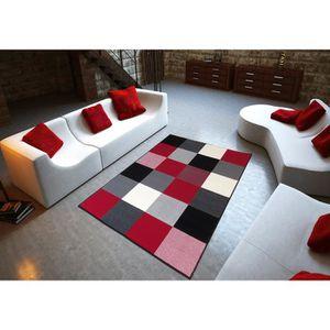TAPIS Tapis salon DESIGN carrés noir rouge blanc DEBONSO