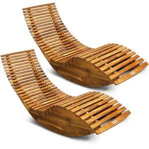 CHAISE LONGUE 2X Chaise Longue à Bascule Bois d'acacia Forme Erg