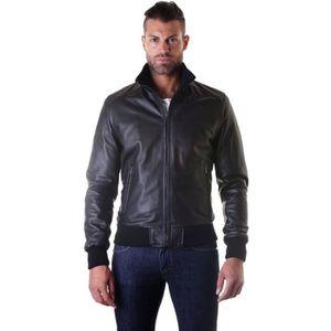 BLOUSON BOMBER • couleur noir • blouson cuir homme style b