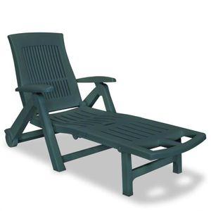 CHAISE LONGUE Chaise longue avec repose-pied Plastique Vert