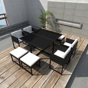 SALON DE JARDIN  Jeu de mobilier de jardin 21 pcs Ensemble table ch