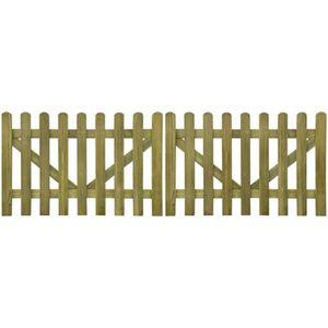 PORTAIL - PORTILLON portail piquet en imprégné bois 2 pcs 300 x 100 cm