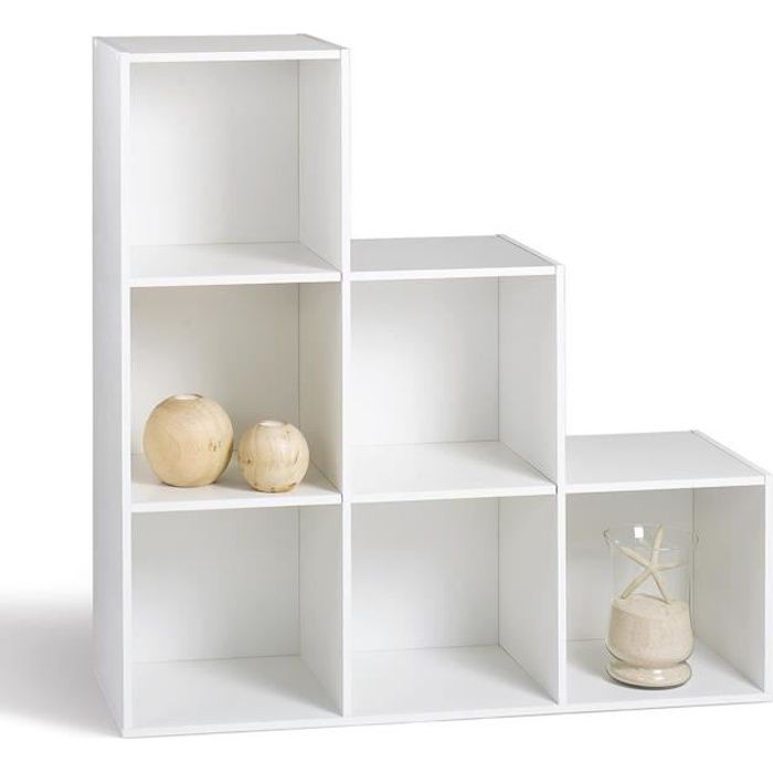 Compo meuble escalier 6 cases blanc achat vente meuble for Meuble 6 cases ikea