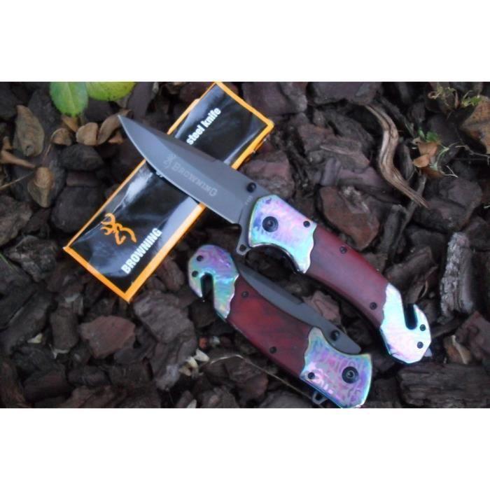 Couteau De Sauvetage BROWNING Manche Bois/Style Damas 13 cm Outdoor