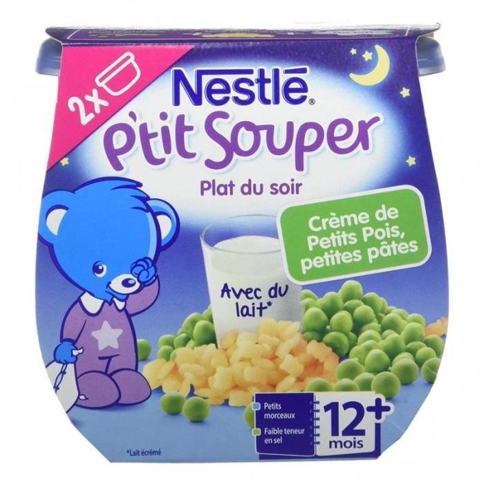 Nestlé P'tit Souper Plat du Soir Crème de Petits Pois Petites Pâtes (+12 mois) par 2 pots de 200g (l