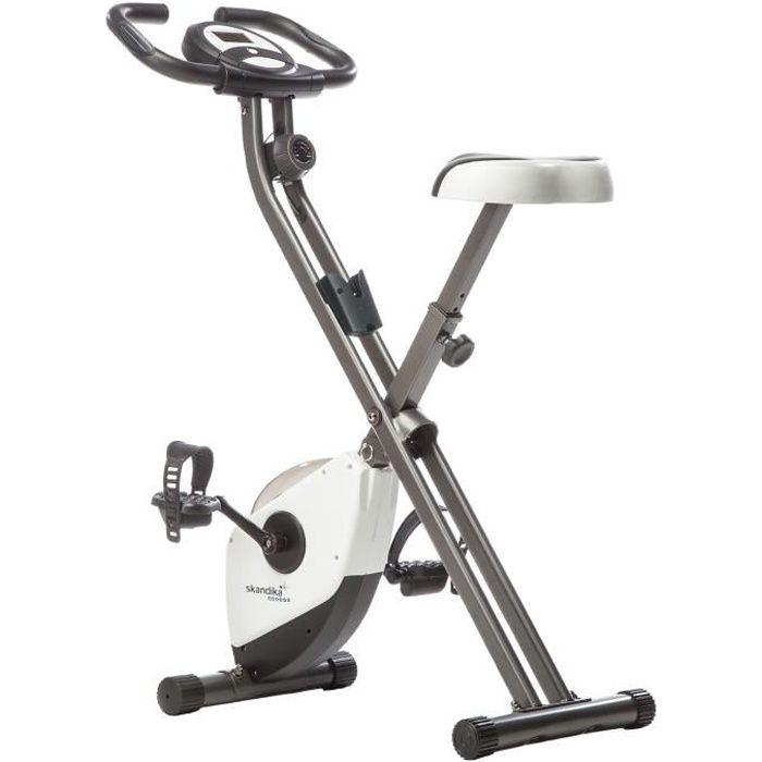 SKANDIKA Foldaway X-1000 - vélo d'appartement - 8 niveaux de resistance - Jusqu'à 110 KG - Blanc