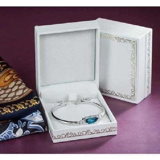 Bracelet femme-Swarovski Elements Cristal Bleu-Plaque Or Blanc- Ajoutez une touche de glamour a votre poignet avec cet