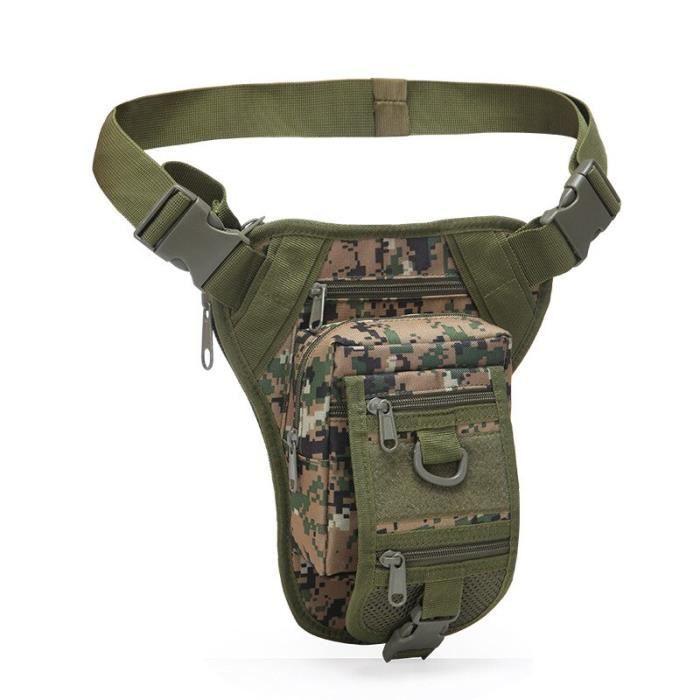 woodland digital -Sac tactique 800D Oxford, Packs de taille, Packs militaires de jambes tombantes, sacoche militaire pour randonnée
