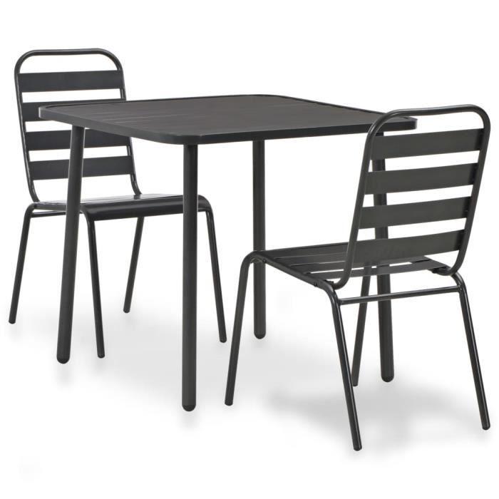 Magnifique -Set bistrot 3 pcs Ensemble repas de jardin - Ensemble Table et Chaises Acier Gris foncé