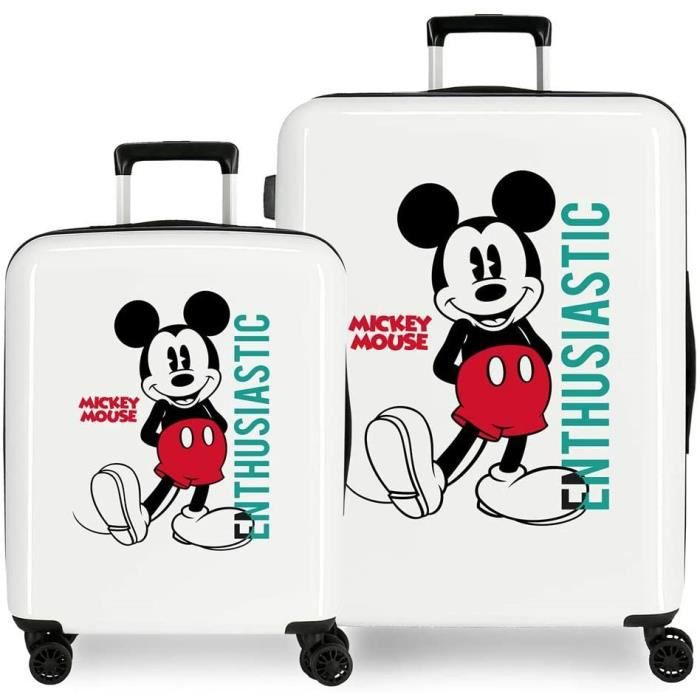 VALISE OU BAGAGE VENDU SEUL Disney Mickey Enthusiastic Set de valises Blanc 55-68 cm Rigide ABS Fermeture TSA 119,4 L 6 kg 4 rou12