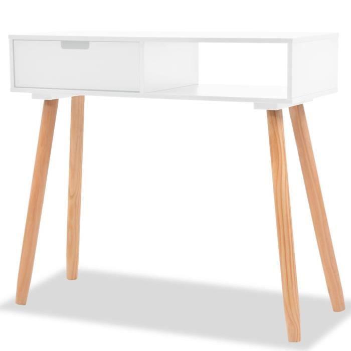 Table console Bois de pin massif 80 x 30 x 72 cm Blanc-ALI