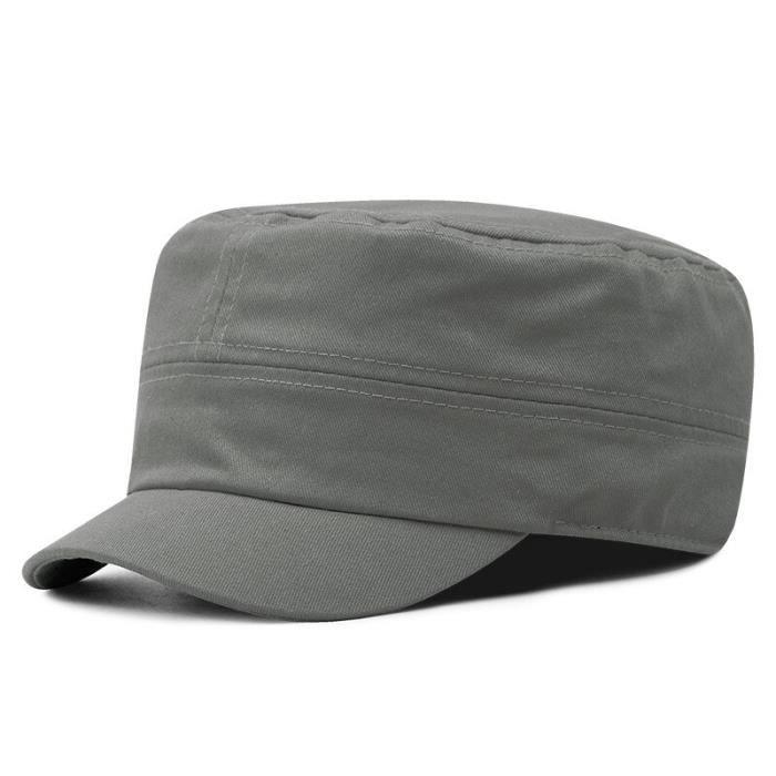 Casquette plate de grande taille pour hommes, casquette militaire à bord court, chapeau militaire en gray green 58cm