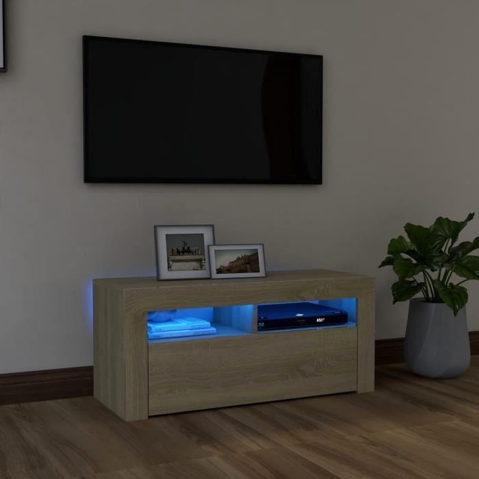 ETO-Meuble TV avec lumières LED Avec design à la fois tendance et pratique Chêne sonoma 90x35x40 cm