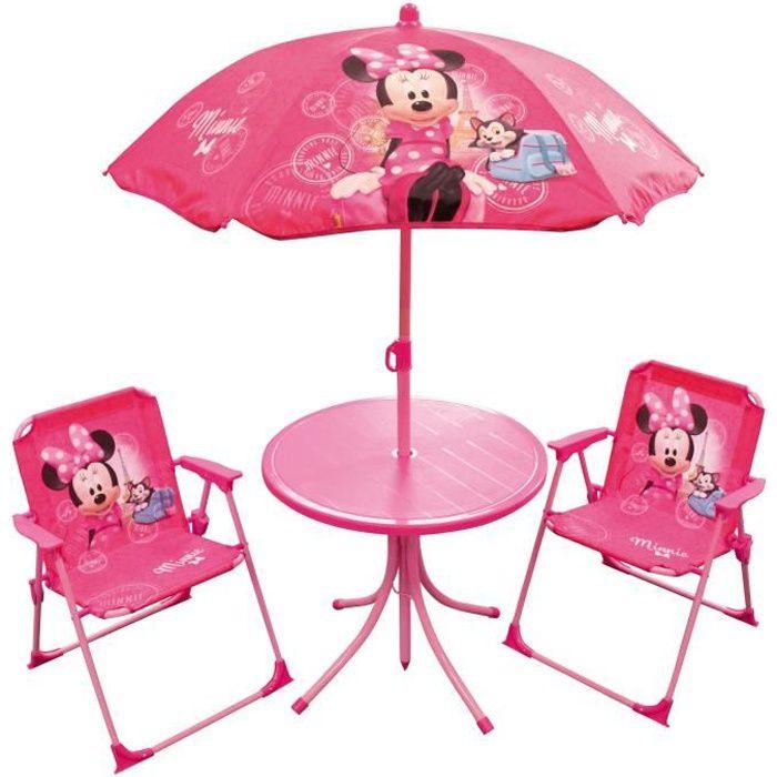 MINNIE Salon de jardin composé d'une table, de deux chaises et d'un parasol pour enfant - Disney