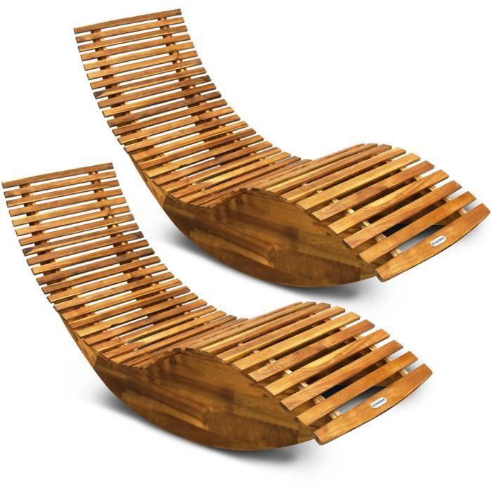 2X Chaise Longue à Bascule Bois d'acacia Forme Ergonomique Fonction Bascule certifié FSC® Jardin Bain de Soleil Bois transat