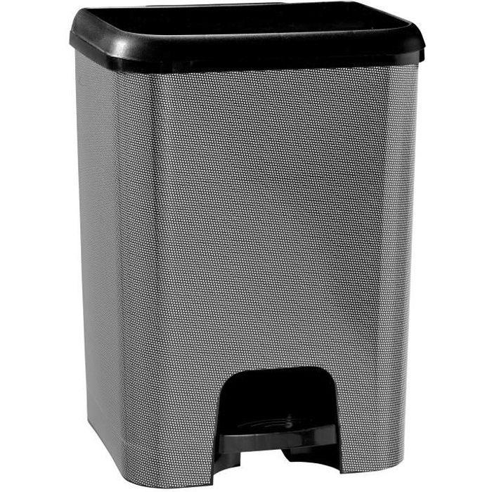 KITCHEN MOVE Poubelle de cuisine à pédale SEATTLE - Plastique aspect métal - 30 l - Noir géométrie