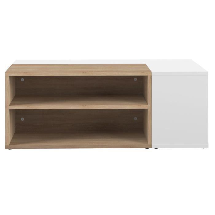 Miliboo - Table basse design bois et blanc amovible