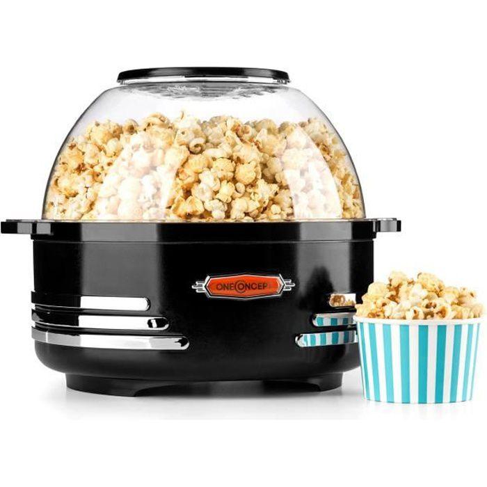 oneConcept Couchpotato - Machine à pop corn style rétro vintage (capacité 5,2L, couvercle double emploi) - noir