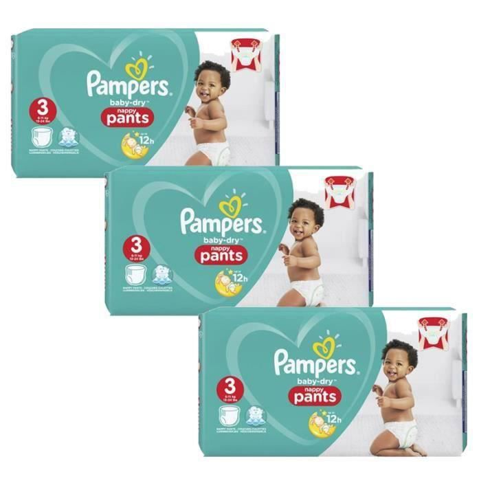 Pampers - 364 couches bébé Taille 3 baby dry pants