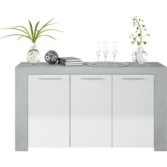 Buffet avec 3 portes coloris Blanc Artik - Ciment en mélamine - Dim: 80 x 144 x 42 cm