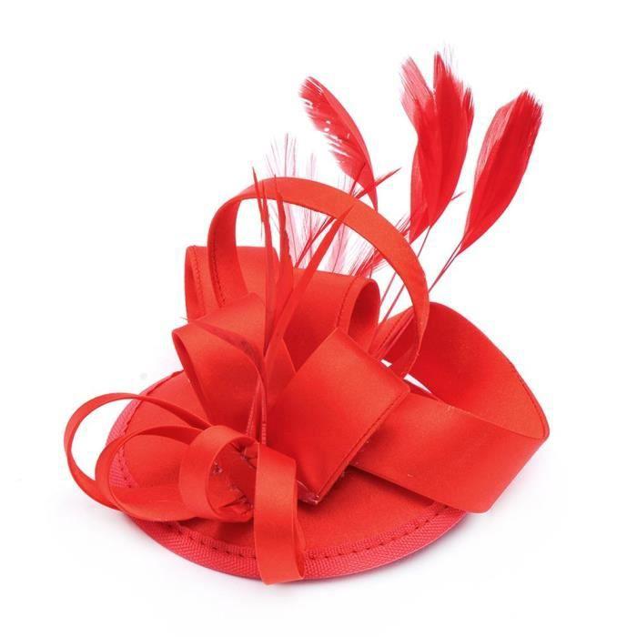 Agrafe de chapeau bibi plume pour les femmes sur le mariage accessoire de cheveux Party (rouge)MB707067