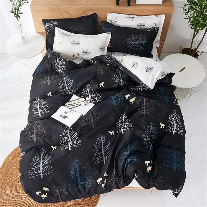 Housses de Couettes Parures,3 Pièces avec 1 Housses de Couettes 2 Taies d'oreillers (Olivier Noir,200x200cm)