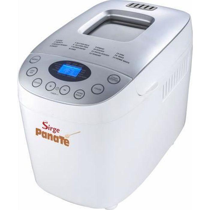 Sirge PANATE Machine à pain pour pétrir le pain fait maison, automatique et numérique et faire cuire le pain jusqu'à 1600gr 850 Watt