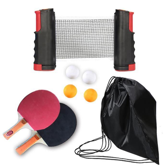 Raquette De Ping Pong, Set De Tennis De Table avec 1 Filet tennis de table,2 Raquette Ping Pong +4 Balle,t2