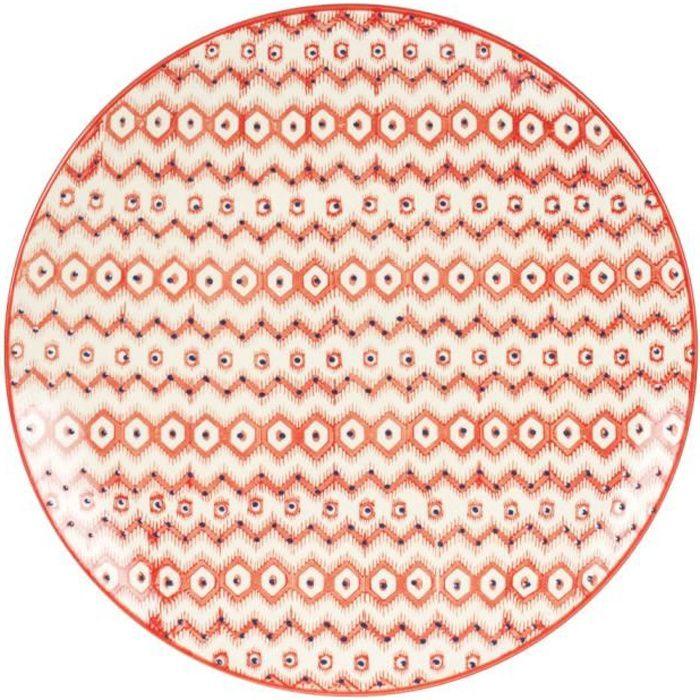 TABLE PASSION - ASSIETTE PLATE SANTA FE 26 CM NEURE Rouge