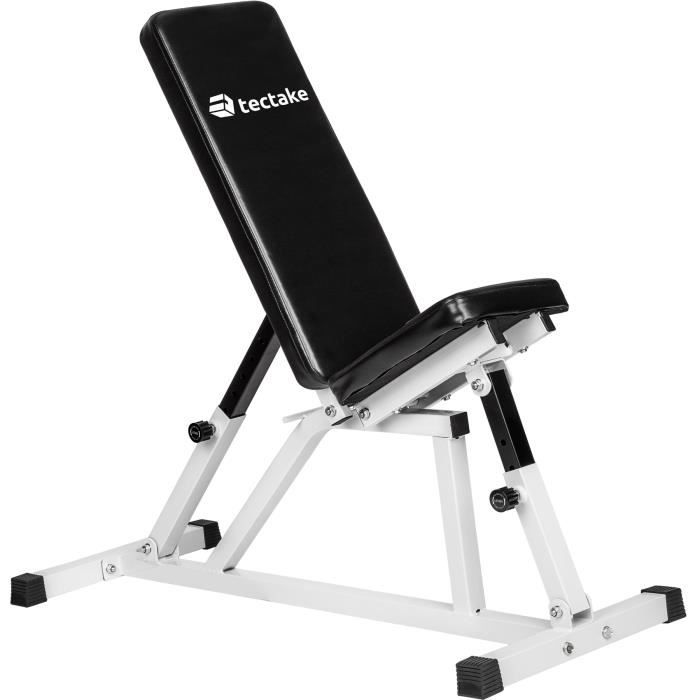 TECTAKE Banc de Musculation pour Abdominaux Réglable 120 cm x 47 cm x 114 cm Blanc Noir
