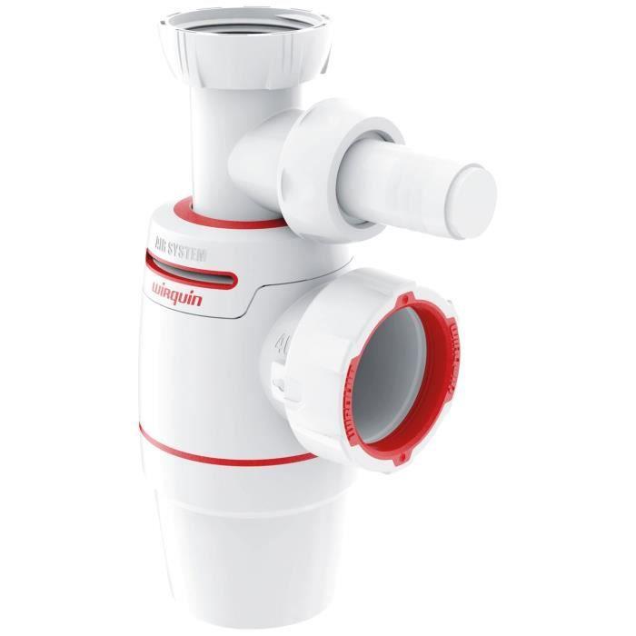 WIRQUIN - Siphon d'évier Néo Air Ø40 mm + prise Machine à laver