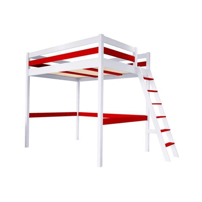lit mezzanine sylvia avec chelle bois couleur blanc rouge dimensions 120x200 achat. Black Bedroom Furniture Sets. Home Design Ideas