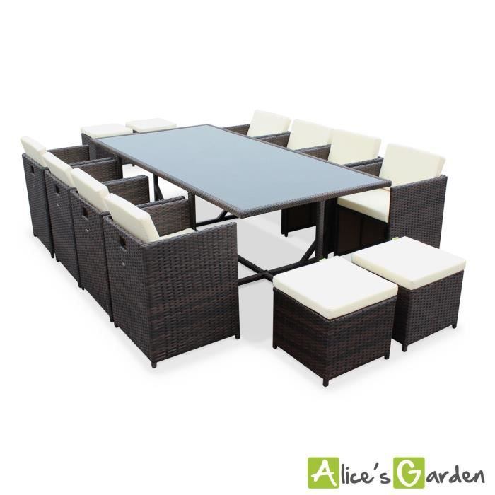 salon de jardin vasto chocolat table en r sine tress e 8. Black Bedroom Furniture Sets. Home Design Ideas