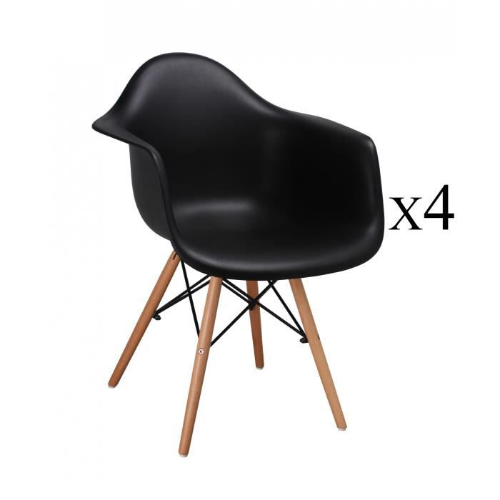 lot de 4 chaises scandinaves noires avec accoudoirs retro achat vente chaise noir soldes. Black Bedroom Furniture Sets. Home Design Ideas
